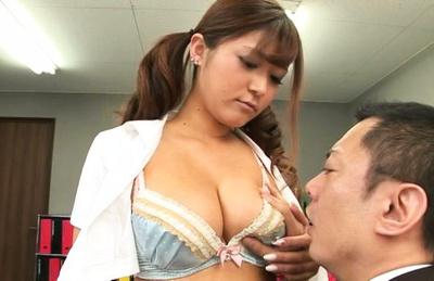 Satou haruka. Busty Satou Haruka surprises office man with her melons